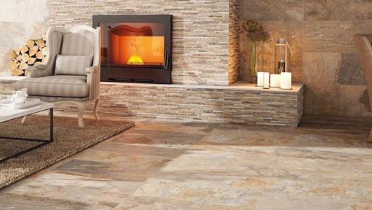 Sala con azulejos imitacion piedra