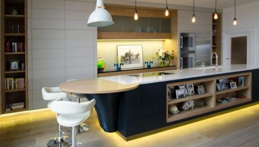iluminacion led en una cocina